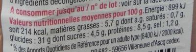 Pause Snack Jambon Concombre - Informations nutritionnelles