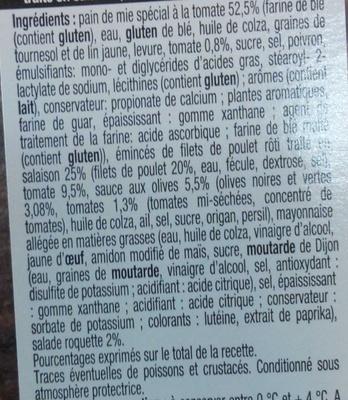 Pause Snack Émincé Poulet rôti tomate roquette - Ingredients