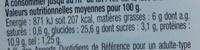 Pause Snack Émincé Poulet rôti tomate roquette - Informations nutritionnelles