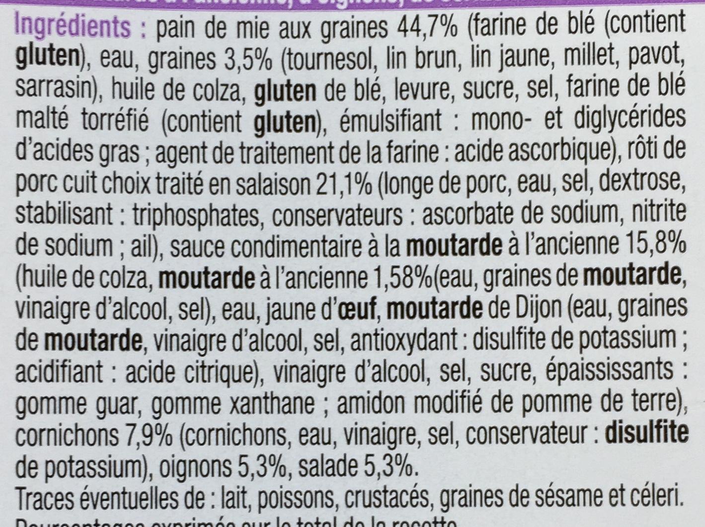 Pause Snack Rôti de porc Cornichon - Ingrédients - fr