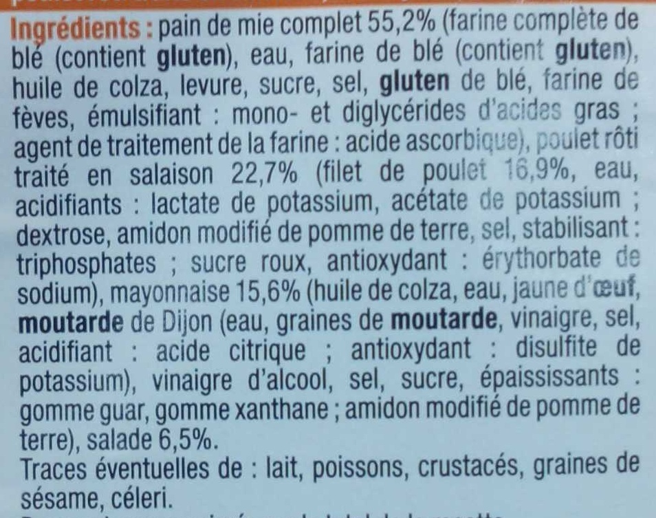 Pause Snack Poulet rôti Salade - Ingredients