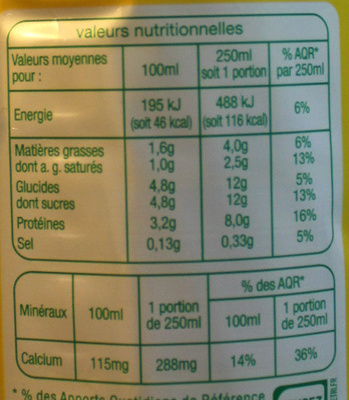 Lait Demi-écrémé - Nutrition facts - fr