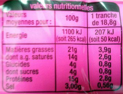 Cheeesy fondu à l'Emmental - Informations nutritionnelles - fr