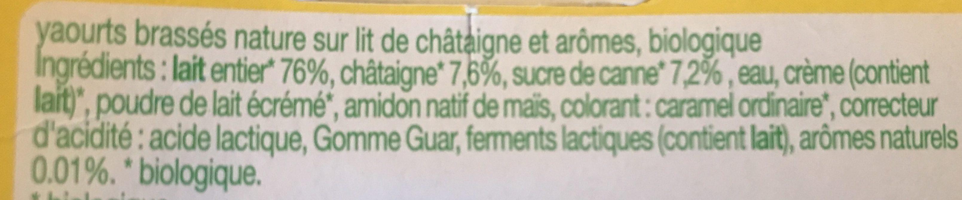 Yaourt sur Lit de Châtaigne - Ingredients