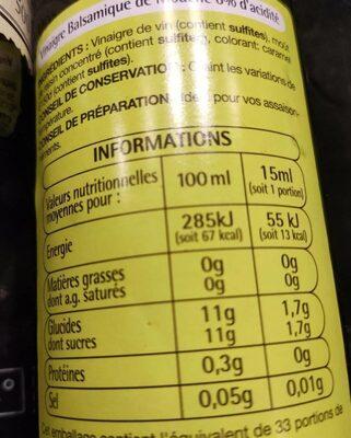 Vinaigre balsamique - Valori nutrizionali