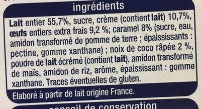 Crème aux œufs Noix de coco - Ingredients