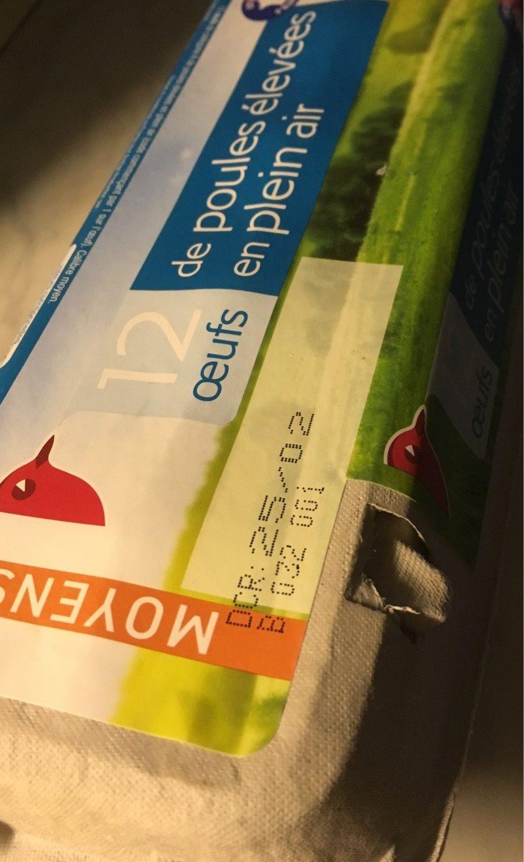 12 oeufs de poule elevees En Plein Air - Auchan - Produit