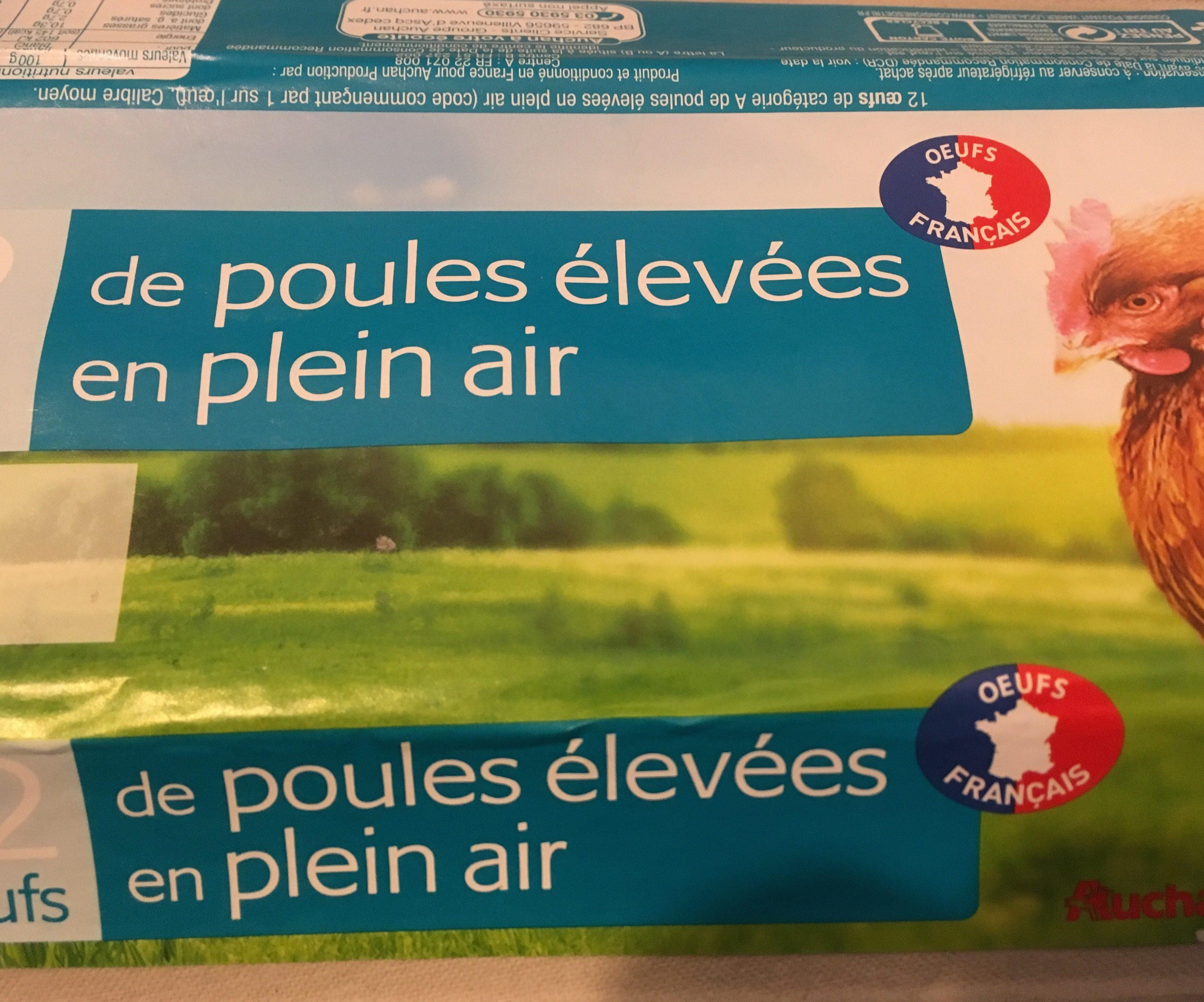 12 oeufs de poule elevees En Plein Air - Auchan - Ingrédients