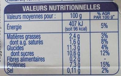 Les P'tits Creux Nature sur lit de myrtille - Informations nutritionnelles