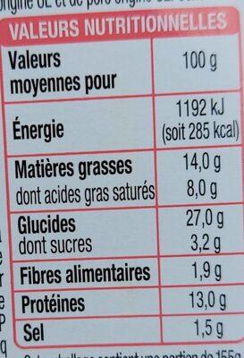 Sandwich Jambon Cheddar Beurre - Voedingswaarden - fr