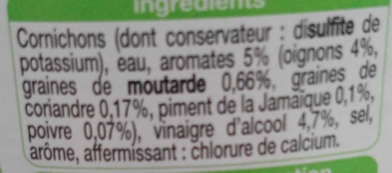 Cornichons extra fins aux 5 aromates - Ingredients - fr