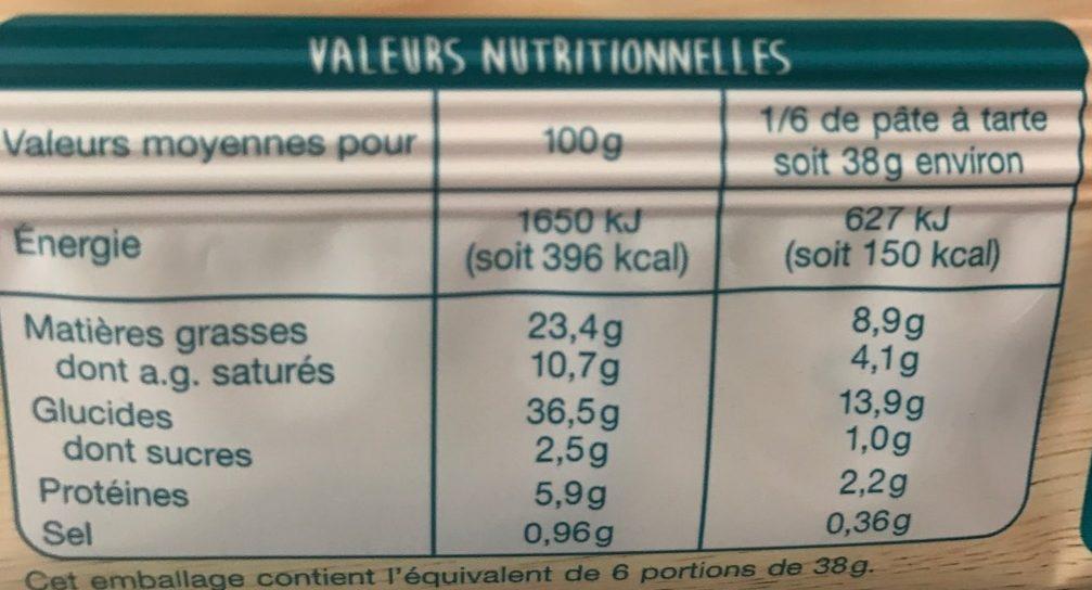 Pâte Feuilletée Rectangulaire - Nutrition facts
