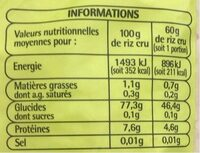 Riz long origine asie - Nutrition facts - fr