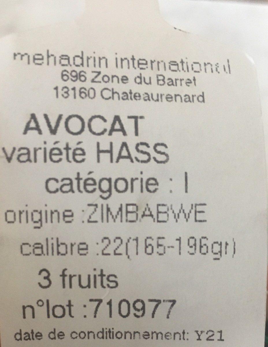 Avocats - Ingrédients - fr