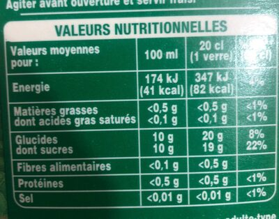Pur jus - Nutrition facts - fr
