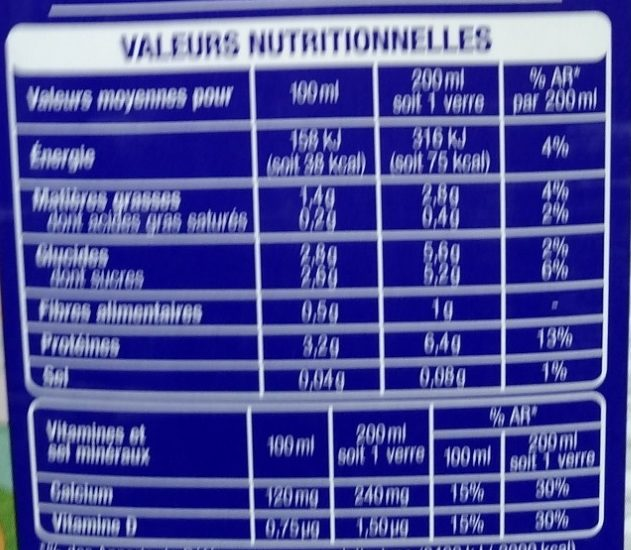 Boisson Soja - Nutrition facts