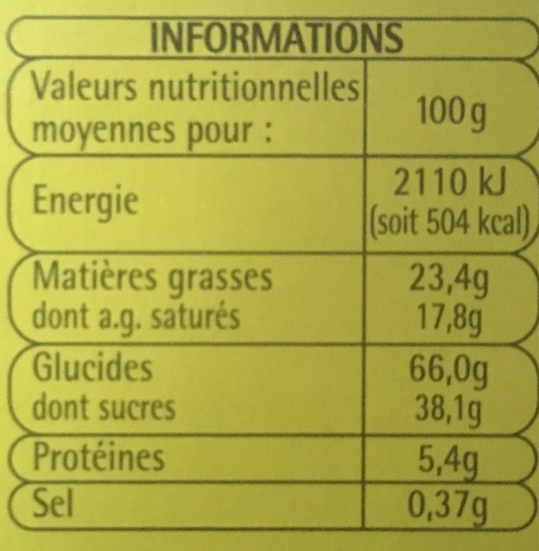 Biscuits avec Tablette Parfum Chocolat au Lait - Informations nutritionnelles - fr