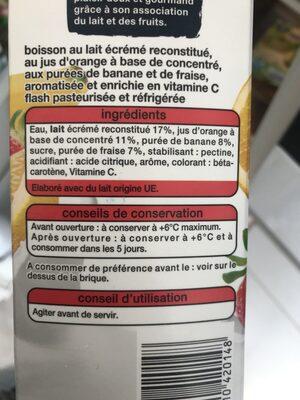 Duo Douceur Lait Orange Banane Fraise - Ingrédients - fr