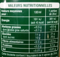 Jus de fruits multifruits - Nutrition facts