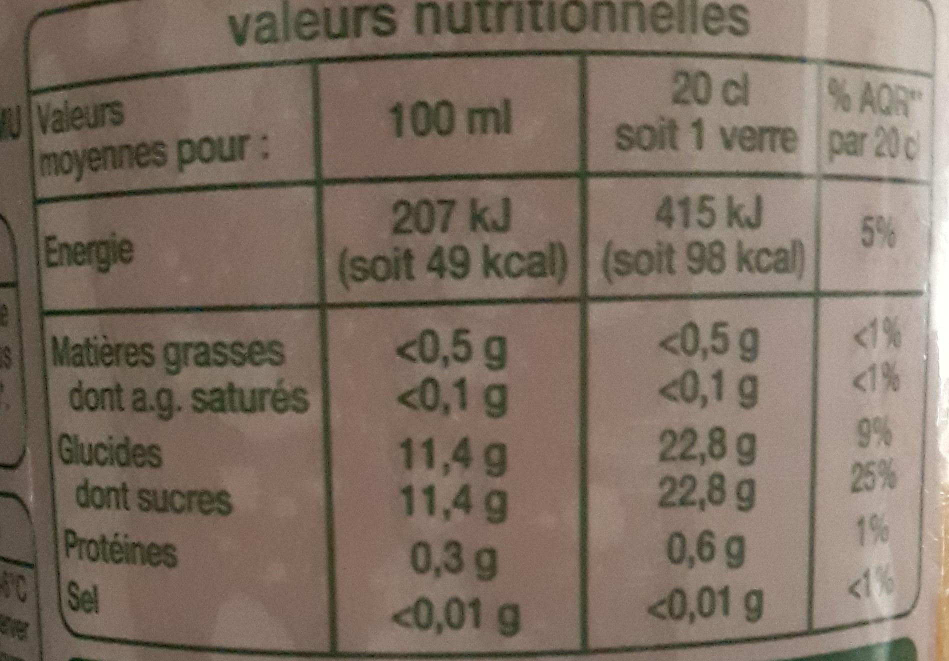 Jus Multifruits Bio - Voedingswaarden - fr