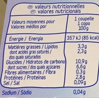 Brassé Nature Sucré - Nutrition facts - fr