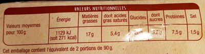 Nuggets Fromage - Nutrition facts
