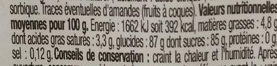 Pâte à sucre - Informations nutritionnelles - fr