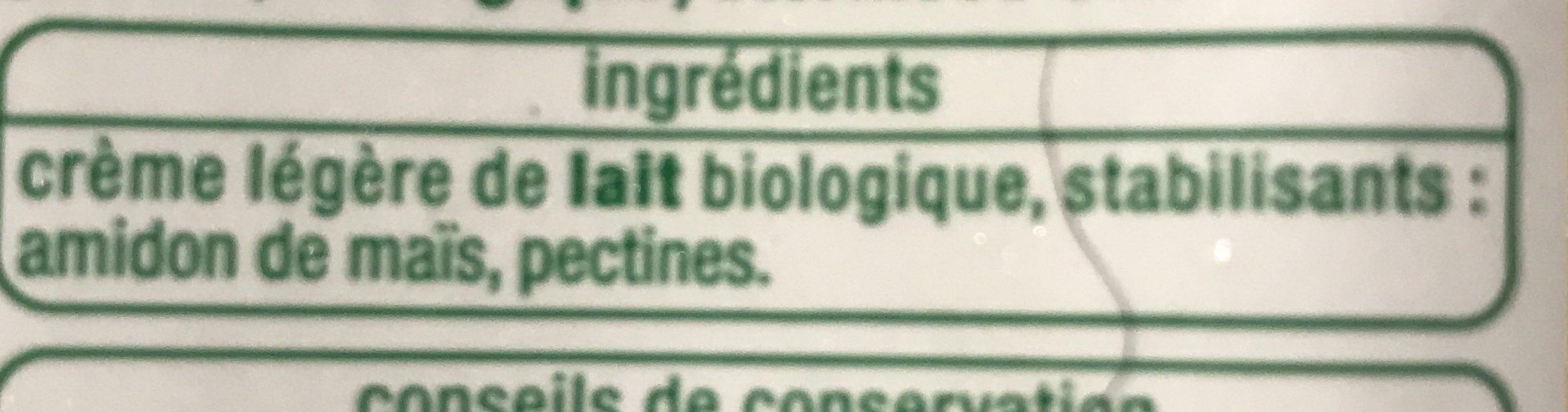 Creme legere fuide bio - Ingrediënten - fr