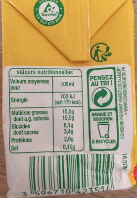 Creme legere fuide bio - Voedingswaarden - fr