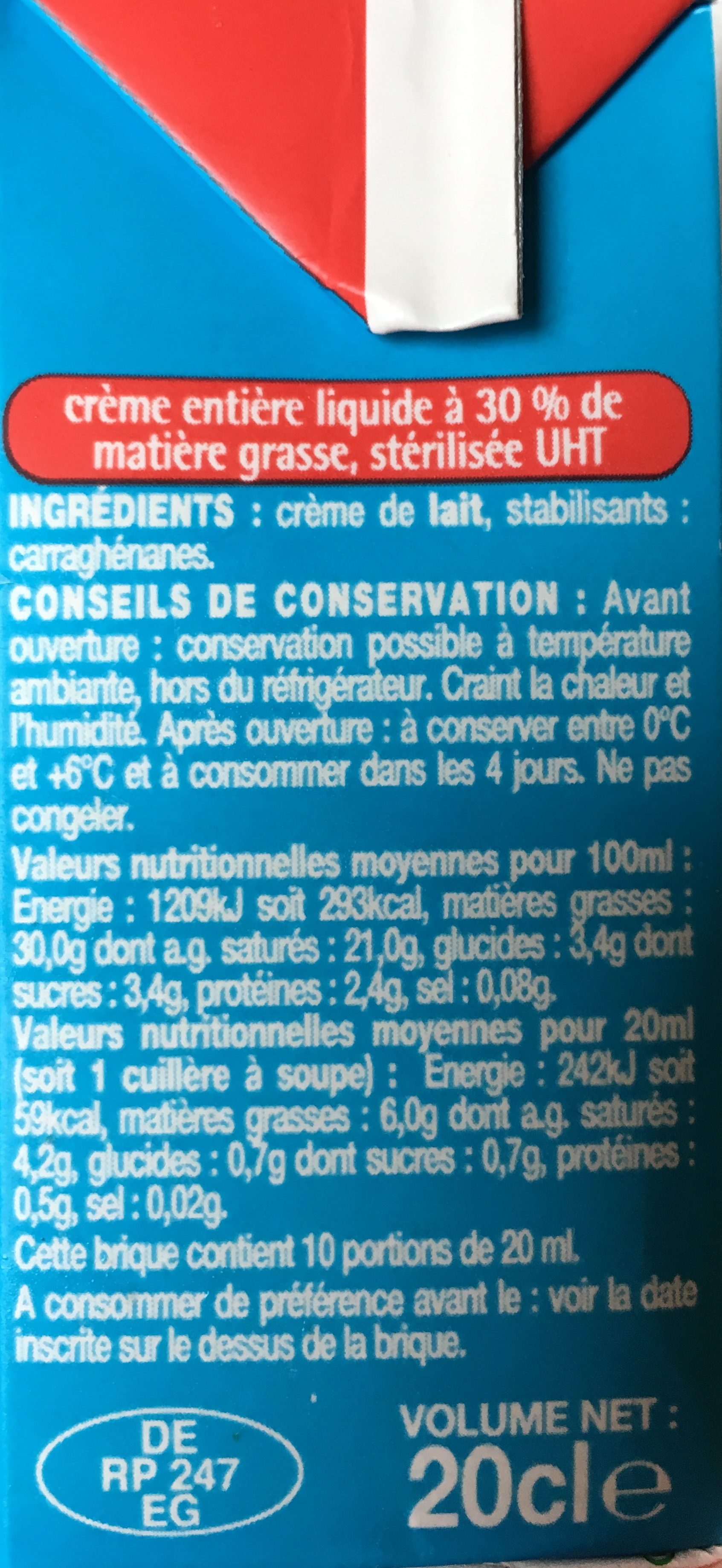 Crème fluide entière - Ingrediënten - fr