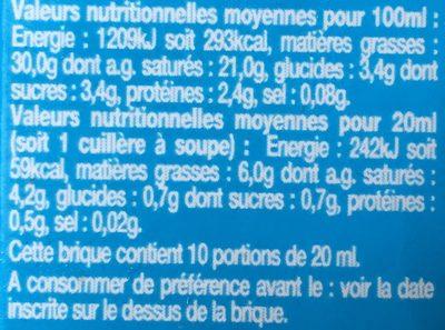 Crème fluide entière - Voedingswaarden - fr