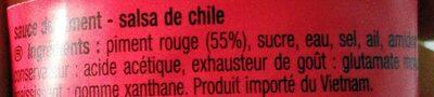 Sauce sriracha - Ingrédients - fr