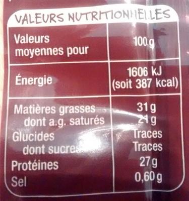 Mmm ! - Emmental au lait cru - Informations nutritionnelles - fr