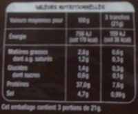 Mmm Viand Bf Sechee Alpes 70g - Informations nutritionnelles