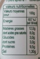 Fromage de chèvre à tartiner - Nährwertangaben