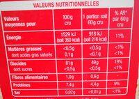 Riz long grain 1kg - Informations nutritionnelles - fr