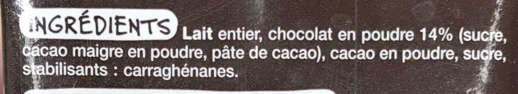 Lait gourmand au chocolat - Ingrédients