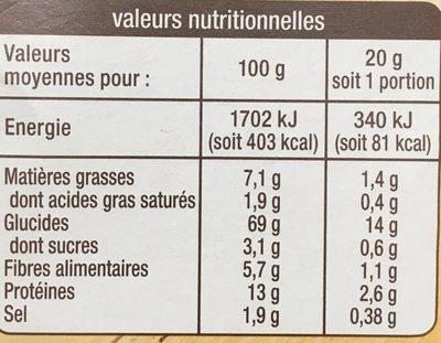 Apéri'Toasts - Sésame - Informations nutritionnelles