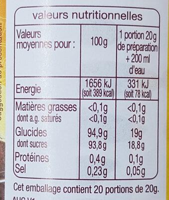 Thé instantané saveur Citron - Nutrition facts