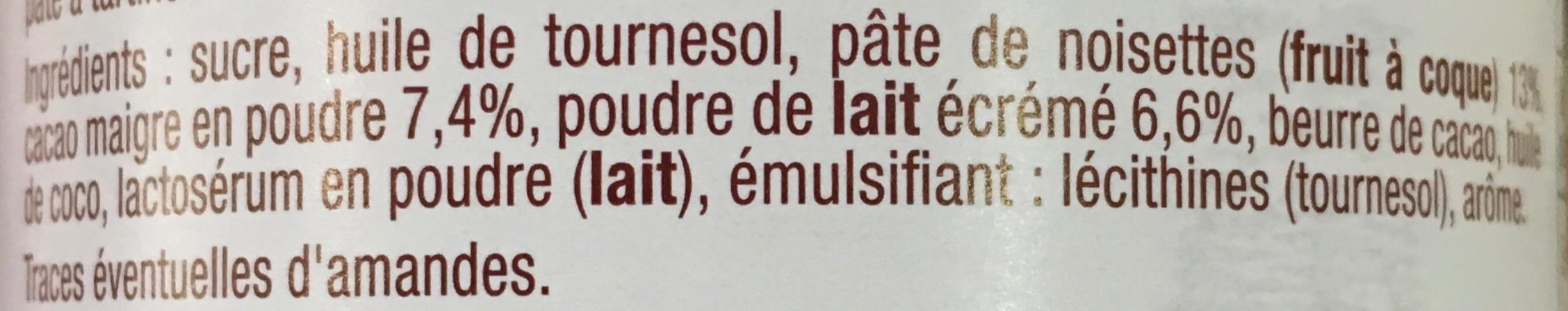 Pâte à tartiner aux noisettes et au lait écrémé - Ingredients