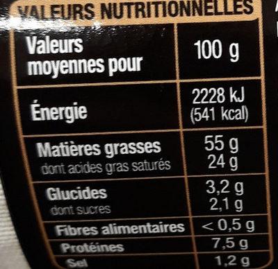 Foie gras de canard entier du Sud-Ouest cuit au torchon, poivre de Madagascar - Nutrition facts