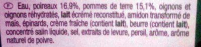 Velouté de poireaux pommes de terre - Ingredients - fr
