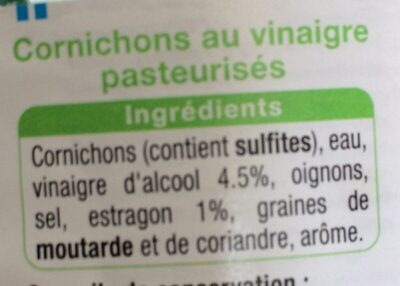 Mini Cornichon A L'estragon - Ingrédients