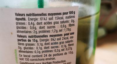 Mini Cornichon A L'estragon - Informations nutritionnelles