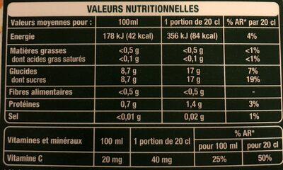 Orange pressée avec pulpe - Informations nutritionnelles
