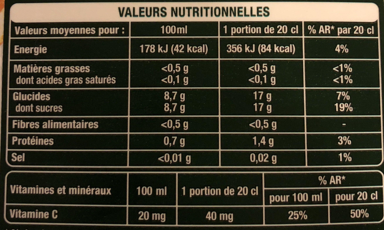 Orange pressée avec pulpe - Informations nutritionnelles - fr