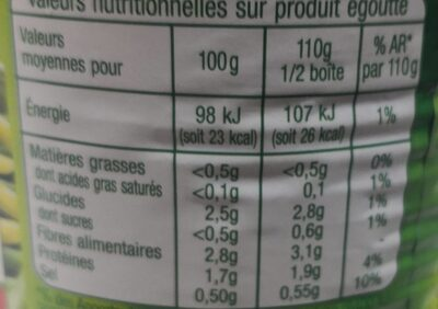 Duo haricots verts haricots beurre extra fins - Informations nutritionnelles