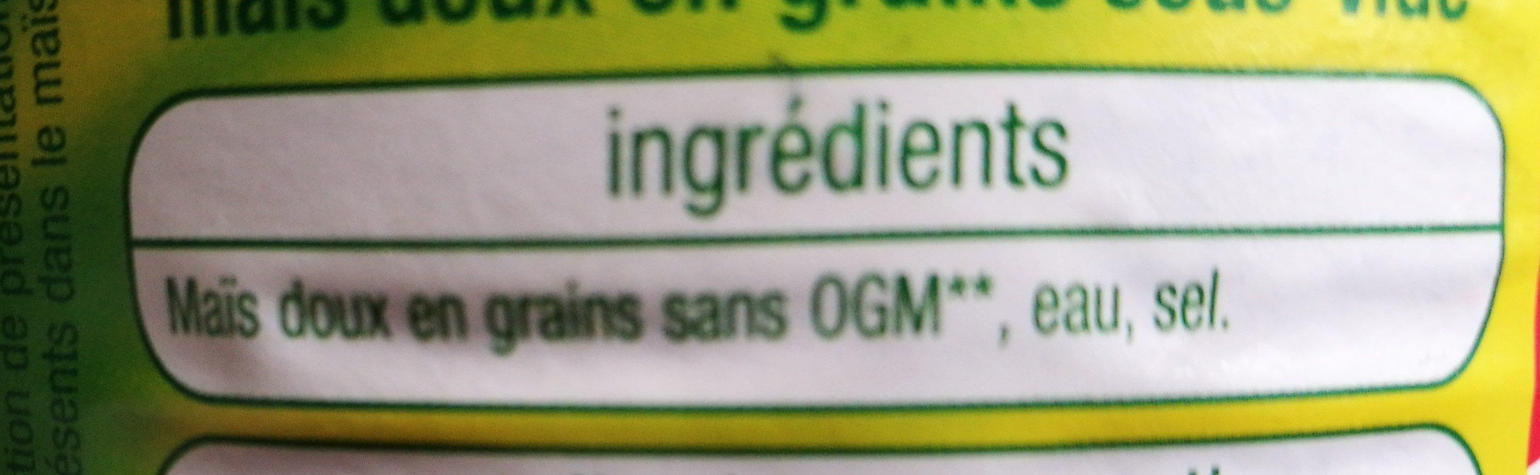 Mais Doux Sans sucres ajoutés - Ingrédients