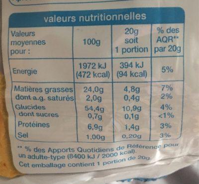 Chips Allégées en Petit Sachet - Informations nutritionnelles