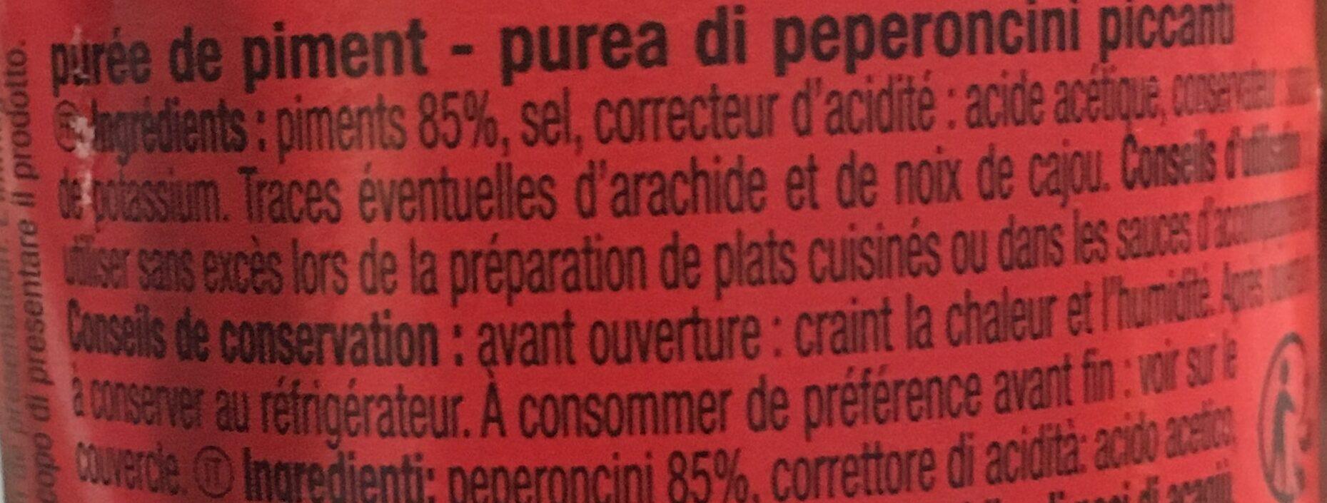 Puree piment - Ingredientes - fr